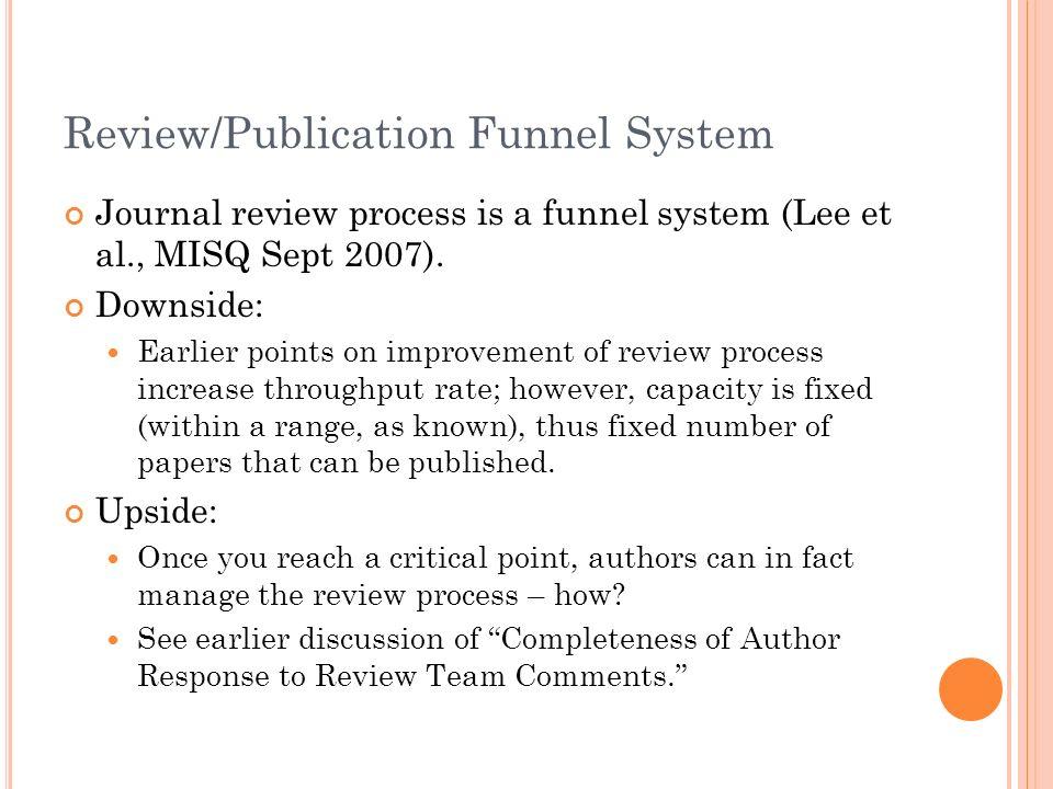 Review/Publication Funnel System Journal review process is a funnel system (Lee et al., MISQ Sept 2007).