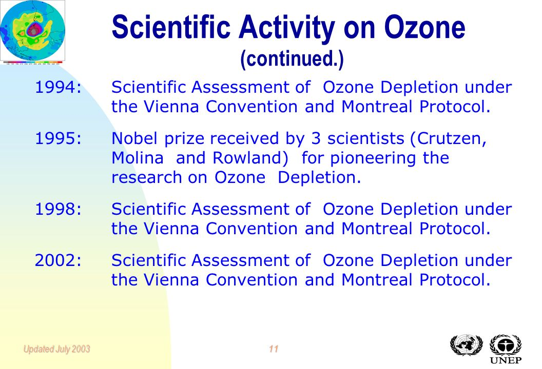 10Updated July 2003 Scientific Activity on Ozone (continued.) 1985:First Scientific Assessment of Stratospheric Ozone.