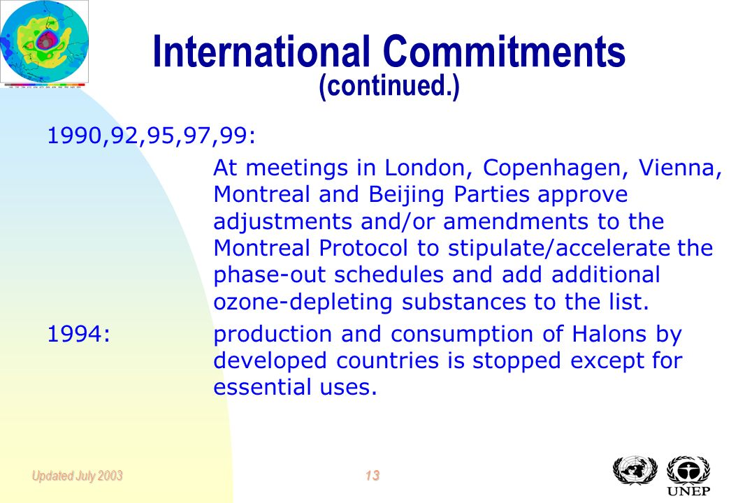 12Updated July 2003 International Commitments 1985:Vienna Convention for the Protection of the Ozone Layer calls for voluntary measures to reduce emis