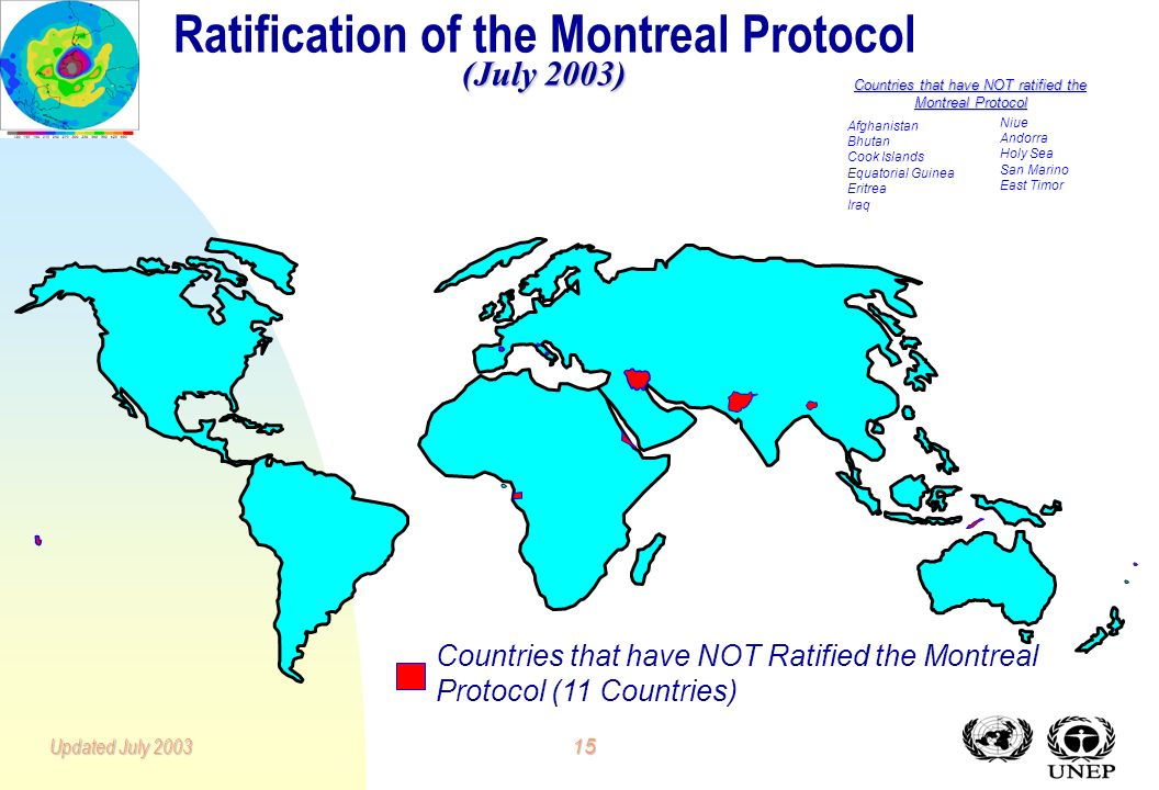 14Updated July 2003 Ozone Protocol and Amendments Ratification Status