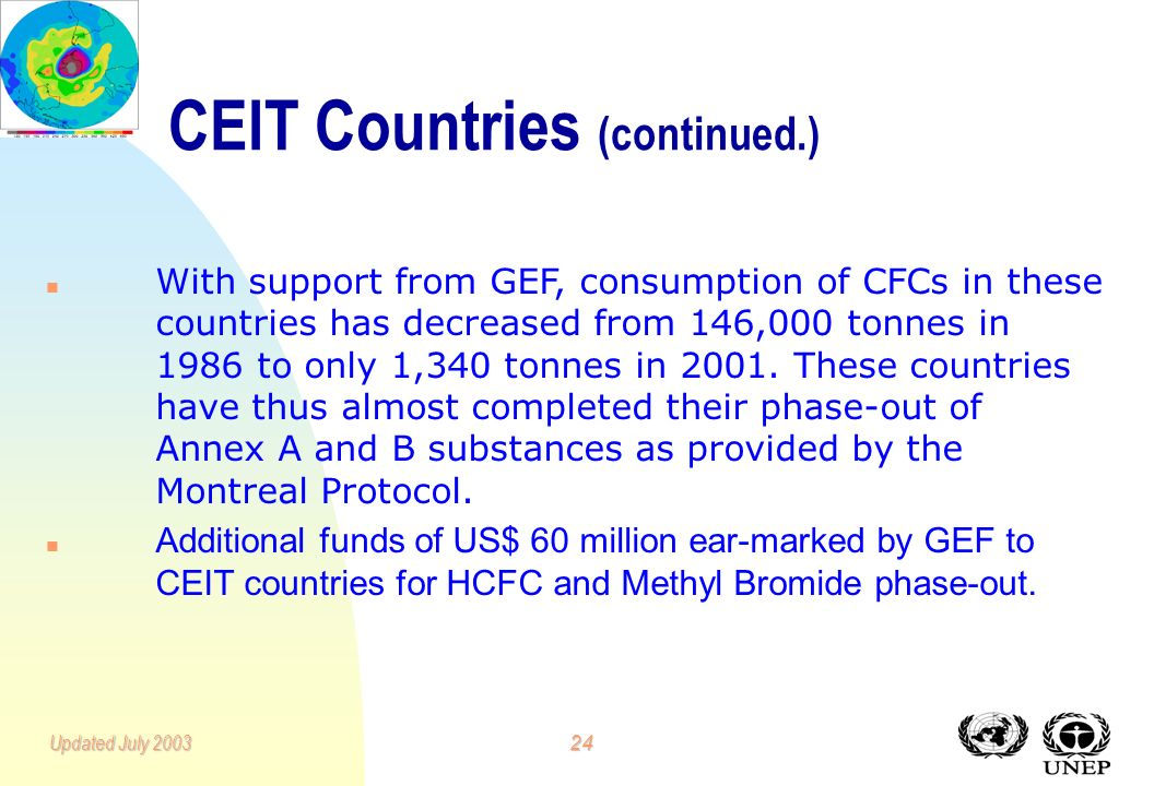 23Updated July 2003 n n The Global Environment Facility (GEF) assisted the Russian Federation and other Eastern and Central Europe countries (CEITs) to implement the Montreal Protocol.