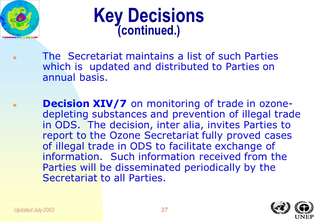36Updated July 2003 Key Decisions (continued.) n Decision X/9 on establishment of a list of countries that do not manufacture for domestic use and do
