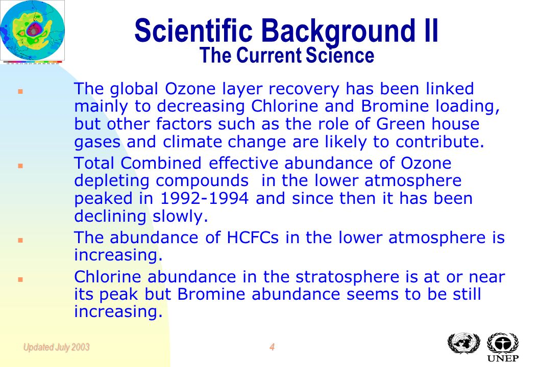3Updated July 2003 Scientific Background I History 1839:Ozone discovered by C. F. Schönbein when observing electrical discharges. 1850s:Ozone shown to