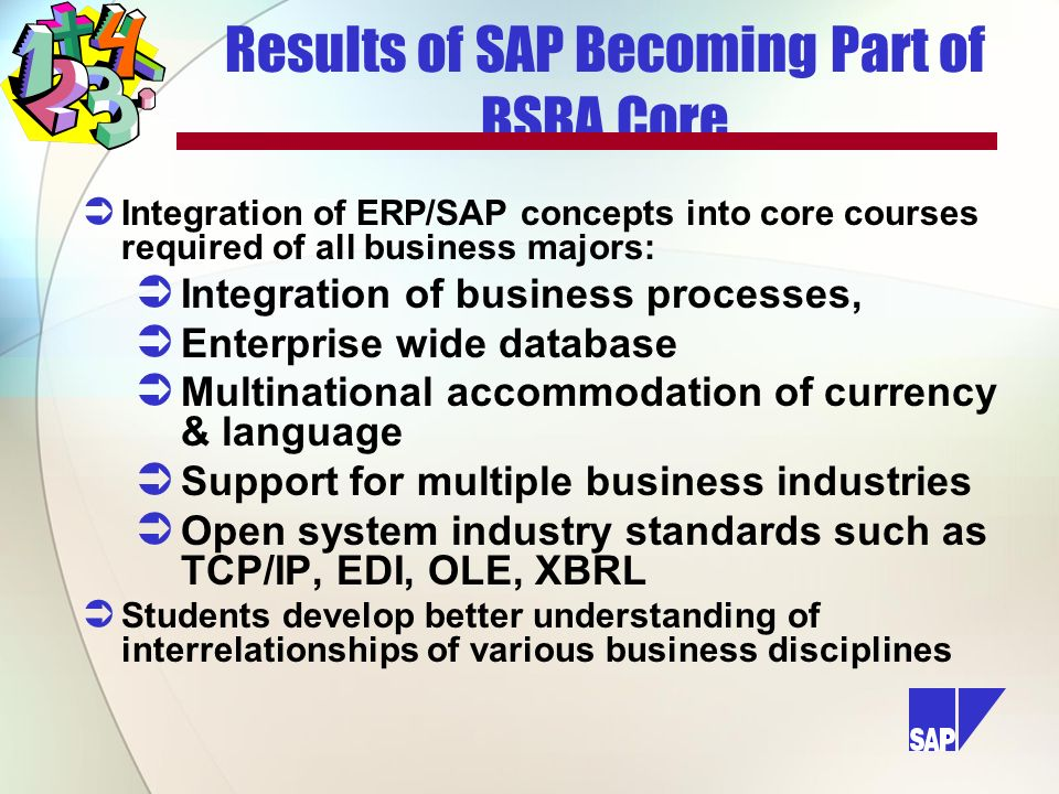 Results of SAP Becoming Part of BSBA Core Integration of ERP/SAP concepts into core courses required of all business majors: Integration of business processes, Enterprise wide database Multinational accommodation of currency & language Support for multiple business industries Open system industry standards such as TCP/IP, EDI, OLE, XBRL Students develop better understanding of interrelationships of various business disciplines