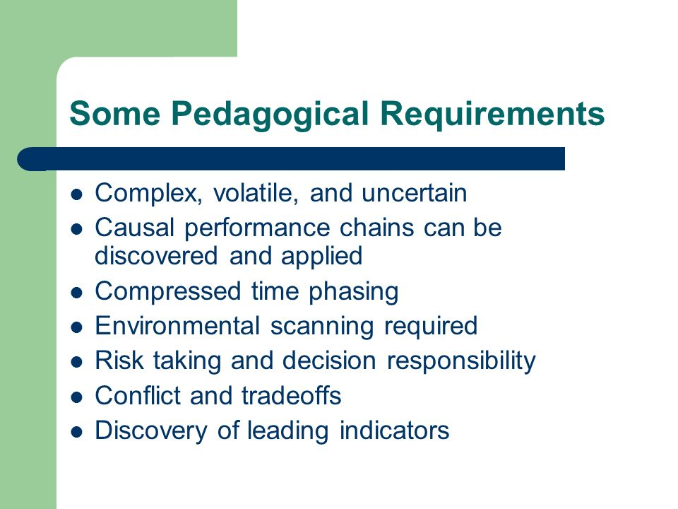 Some Pedagogical Requirements Complex, volatile, and uncertain Causal performance chains can be discovered and applied Compressed time phasing Environmental scanning required Risk taking and decision responsibility Conflict and tradeoffs Discovery of leading indicators