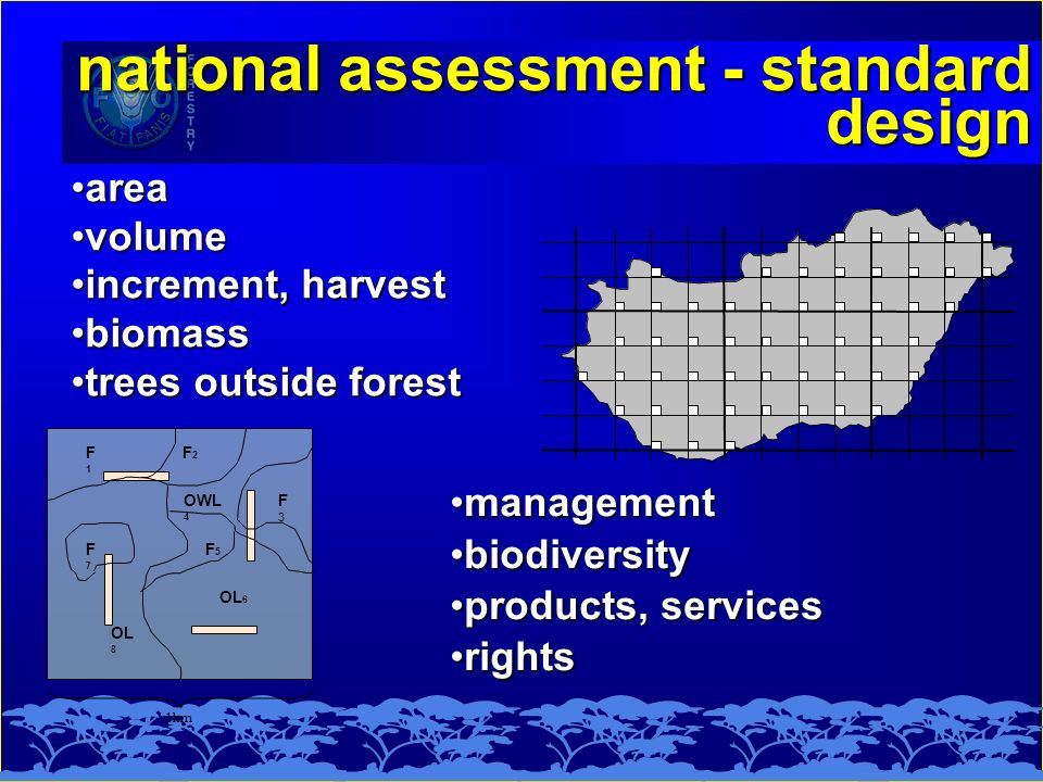 national assessment - standard design 1km F1F1 F7F7 F3F3 OWL 4 F5F5 OL 6 OL 8 F2F2 areaarea volumevolume increment, harvestincrement, harvest biomassbiomass trees outside foresttrees outside forest managementmanagement biodiversitybiodiversity products, servicesproducts, services rightsrights