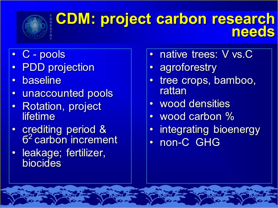 CDM: project carbon research needs C - poolsC - pools PDD projectionPDD projection baselinebaseline unaccounted poolsunaccounted pools Rotation, project lifetimeRotation, project lifetime crediting period & б 2 carbon incrementcrediting period & б 2 carbon increment leakage; fertilizer, biocidesleakage; fertilizer, biocides native trees: V vs.C agroforestry tree crops, bamboo, rattan wood densities wood carbon % integrating bioenergy non-C GHG