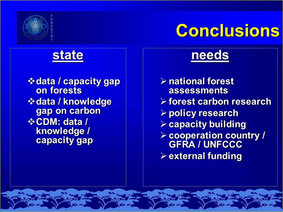 Conclusions state data / capacity gap on forests data / capacity gap on forests data / knowledge gap on carbon data / knowledge gap on carbon CDM: dat
