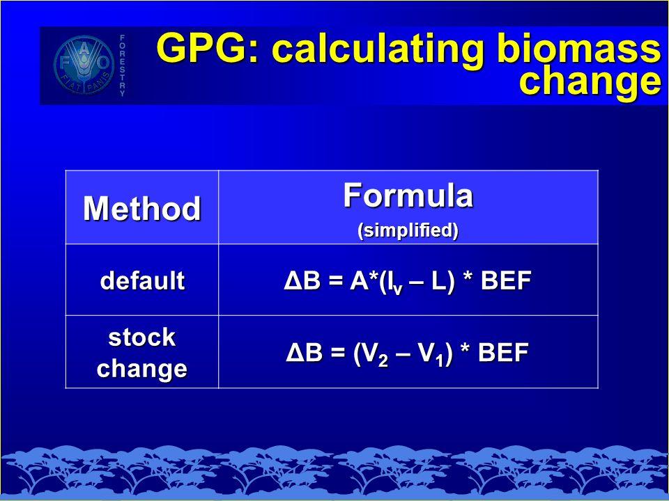 GPG: calculating biomass change MethodFormula(simplified) default ΔB = A*(I v – L) * BEF stock change ΔB = (V 2 – V 1 ) * BEF