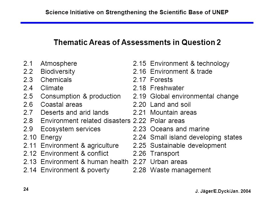 J. Jäger/E.Dyck/Jan. 2004 24 Science Initiative on Strengthening the Scientific Base of UNEP Thematic Areas of Assessments in Question 2 2.1 Atmospher