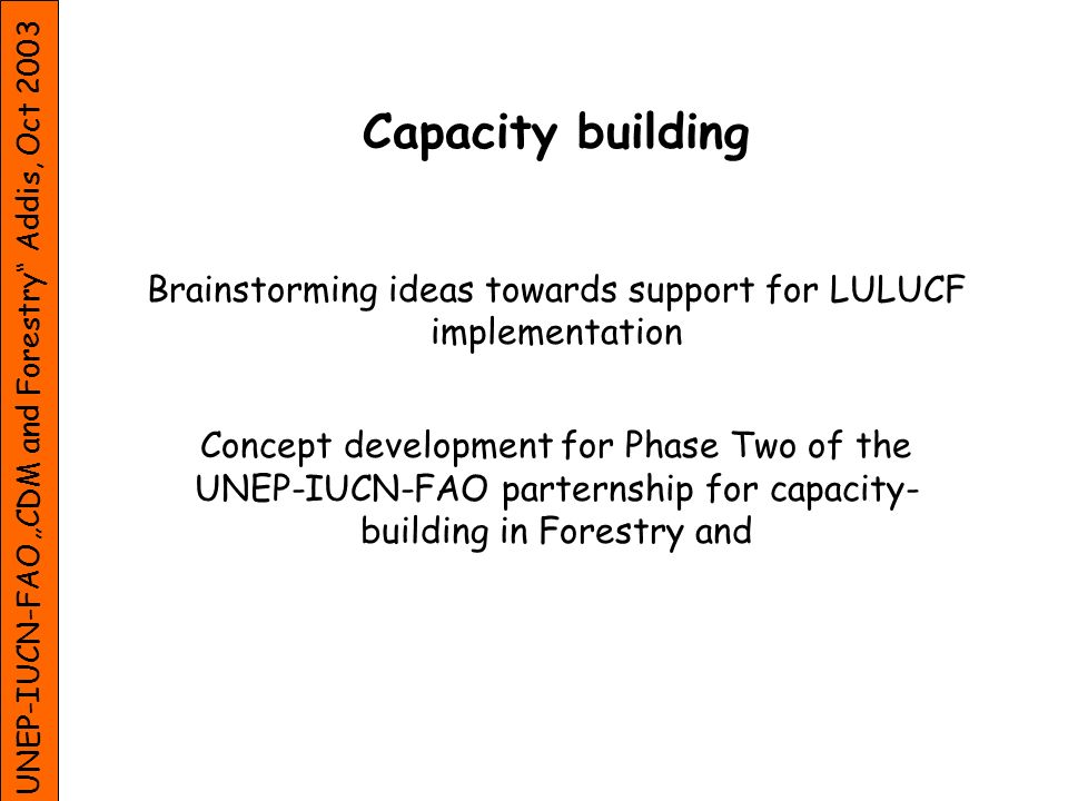 UNEP-IUCN-FAO CDM and Forestry Addis, Oct 2003 Capacity building Brainstorming ideas towards support for LULUCF implementation Concept development for Phase Two of the UNEP-IUCN-FAO parternship for capacity- building in Forestry and