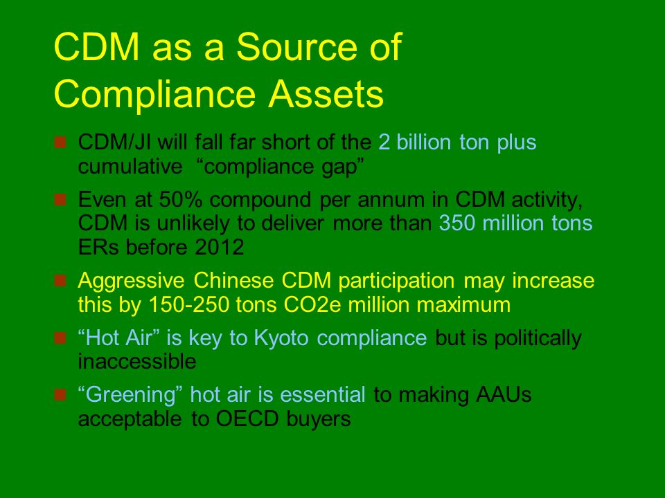 CDM as a Source of Compliance Assets CDM/JI will fall far short of the 2 billion ton plus cumulative compliance gap Even at 50% compound per annum in CDM activity, CDM is unlikely to deliver more than 350 million tons ERs before 2012 Aggressive Chinese CDM participation may increase this by 150-250 tons CO2e million maximum Hot Air is key to Kyoto compliance but is politically inaccessible Greening hot air is essential to making AAUs acceptable to OECD buyers