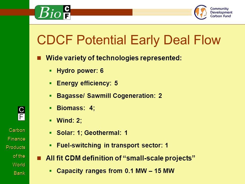 C F Carbon Finance Products of the World Bank CDCF Potential Early Deal Flow Wide variety of technologies represented: Hydro power: 6 Energy efficiency: 5 Bagasse/ Sawmill Cogeneration: 2 Biomass: 4; Wind: 2; Solar: 1; Geothermal: 1 Fuel-switching in transport sector: 1 All fit CDM definition of small-scale projects Capacity ranges from 0.1 MW – 15 MW