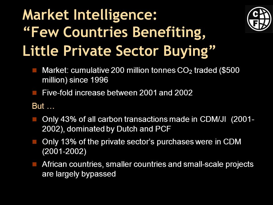 Market Intelligence: Few Countries Benefiting, Little Private Sector Buying Market: cumulative 200 million tonnes CO 2 traded ($500 million) since 1996 Five-fold increase between 2001 and 2002 But … Only 43% of all carbon transactions made in CDM/JI (2001- 2002), dominated by Dutch and PCF Only 13% of the private sectors purchases were in CDM (2001-2002) African countries, smaller countries and small-scale projects are largely bypassed