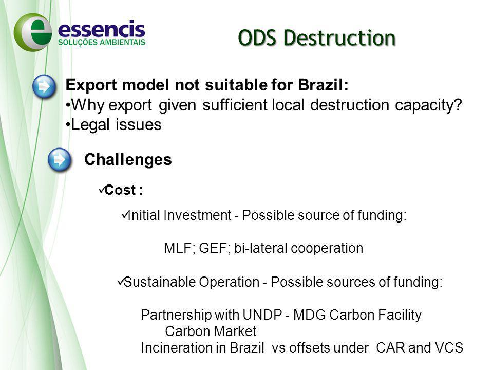 ODS Destruction Challenges Cost : Initial Investment - Possible source of funding: MLF; GEF; bi-lateral cooperation Sustainable Operation - Possible s