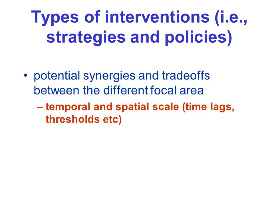 Types of interventions (i.e., strategies and policies) potential synergies and tradeoffs between the different focal area –temporal and spatial scale (time lags, thresholds etc)