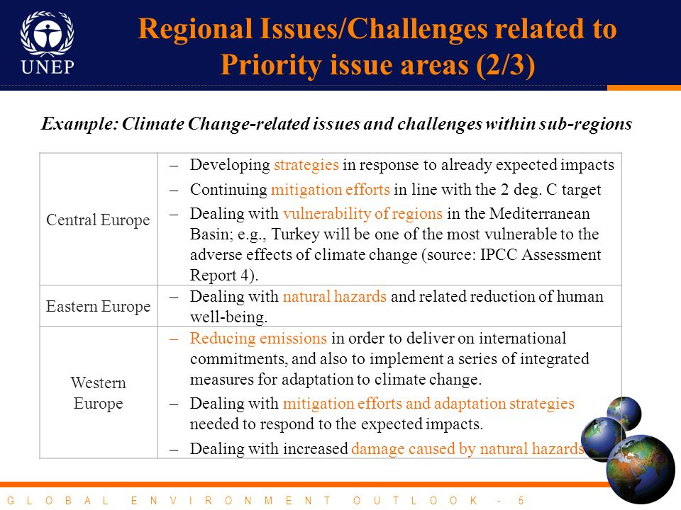 G L O B A L E N V I R O N M E N T O U T L O O K - 5 Example: Climate Change-related issues and challenges within sub-regions Central Europe –Developing strategies in response to already expected impacts –Continuing mitigation efforts in line with the 2 deg.