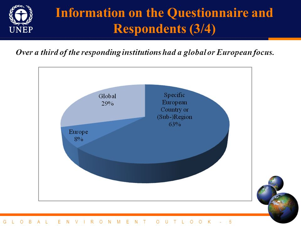 G L O B A L E N V I R O N M E N T O U T L O O K - 5 Over a third of the responding institutions had a global or European focus. Information on the Que
