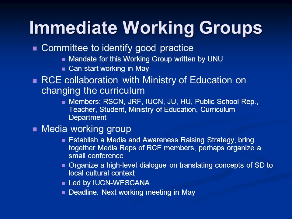 Immediate Working Groups Committee to identify good practice Mandate for this Working Group written by UNU Can start working in May RCE collaboration