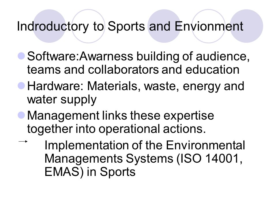 Indroductory to Sports and Envionment Software:Awarness building of audience, teams and collaborators and education Hardware: Materials, waste, energy and water supply Management links these expertise together into operational actions.