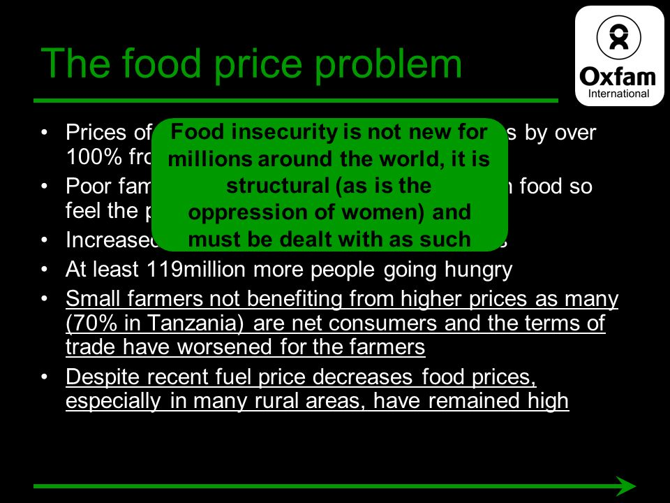 The food price problem Prices of basic food stuffs rose in some cases by over 100% from early 2007 to mid 2008 Poor families spend up to 80% of income