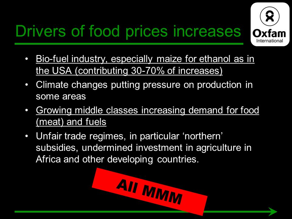 Drivers of food prices increases Bio-fuel industry, especially maize for ethanol as in the USA (contributing 30-70% of increases) Climate changes putt