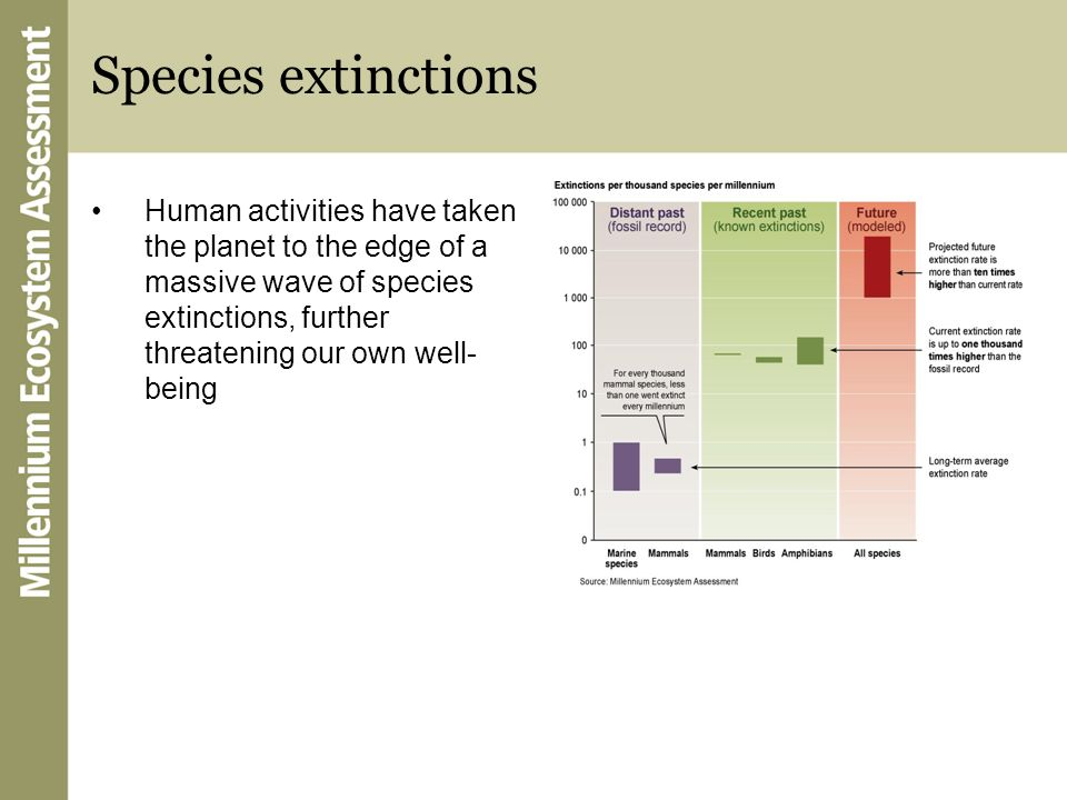 Species extinctions Human activities have taken the planet to the edge of a massive wave of species extinctions, further threatening our own well- bei
