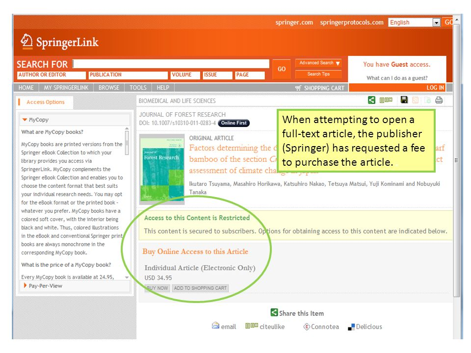 When attempting to open a full-text article, the publisher (Springer) has requested a fee to purchase the article..