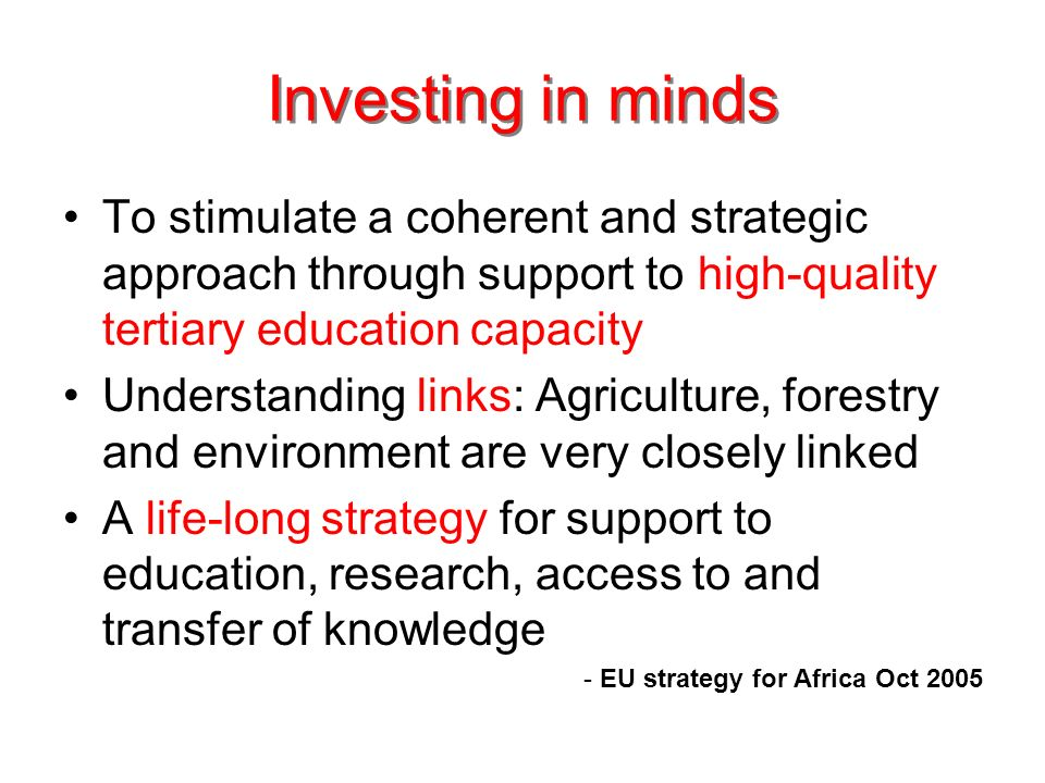 Investing in minds To stimulate a coherent and strategic approach through support to high-quality tertiary education capacity Understanding links: Agriculture, forestry and environment are very closely linked A life-long strategy for support to education, research, access to and transfer of knowledge - EU strategy for Africa Oct 2005