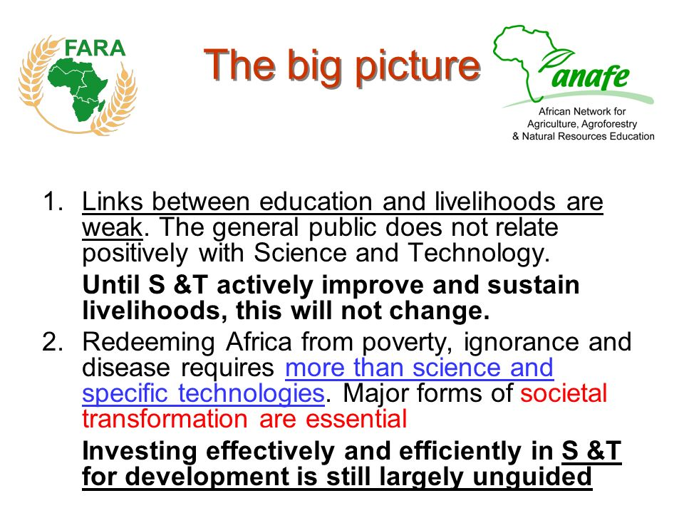 The big picture 1.Links between education and livelihoods are weak.
