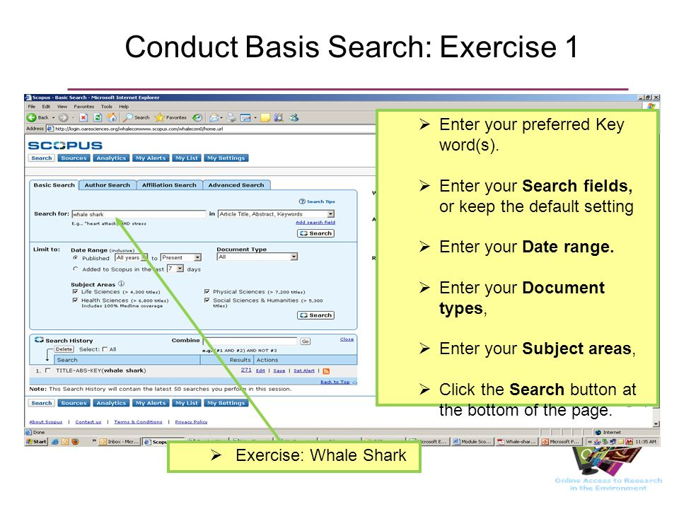 Conduct Basis Search: Exercise 1 Enter your preferred Key word(s).