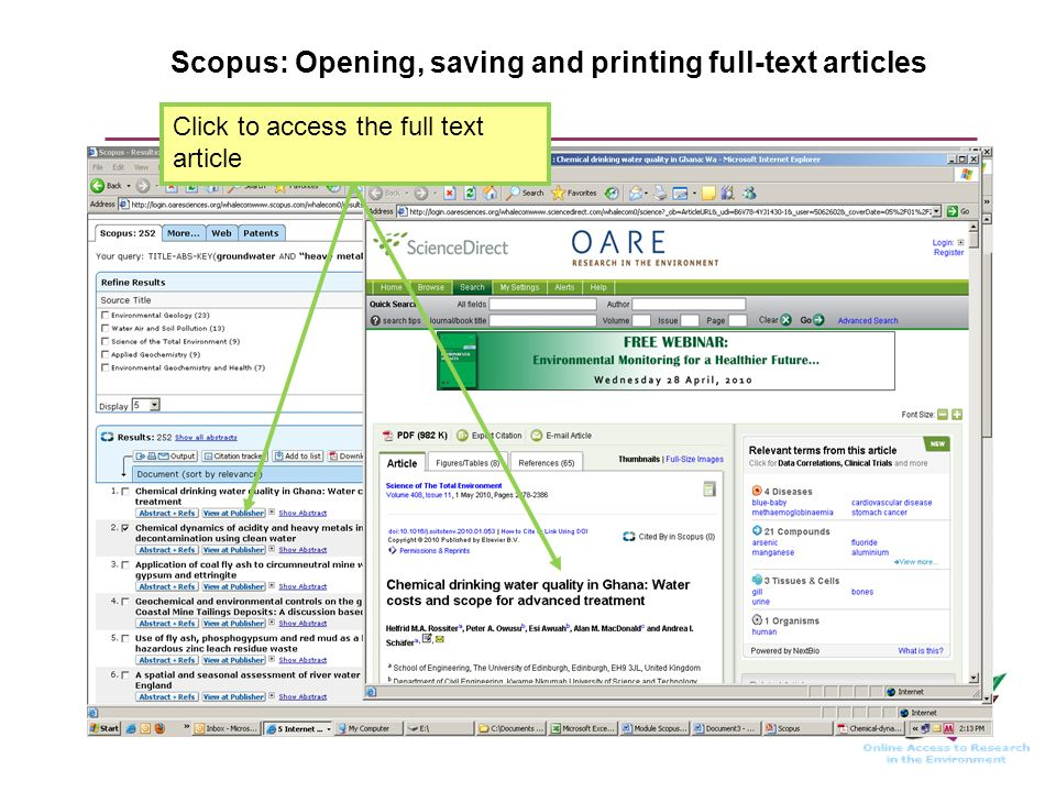 Scopus: Opening, saving and printing full-text articles Click to access the full text article