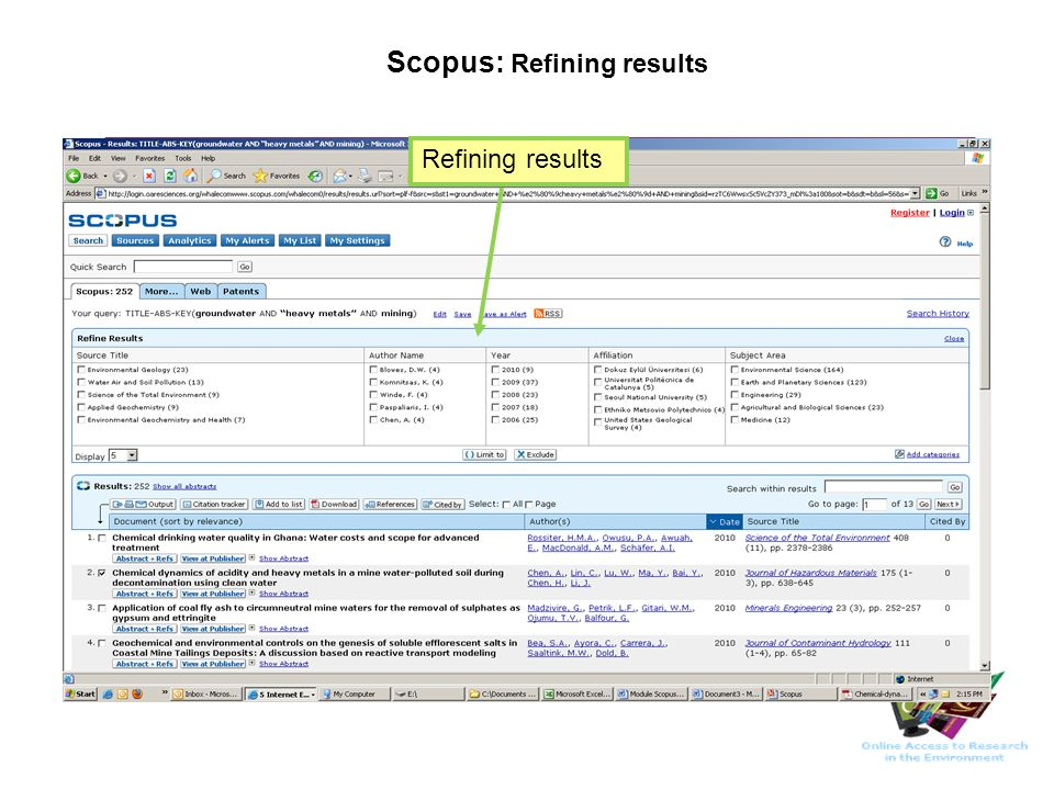 Scopus: Refining results Refining results