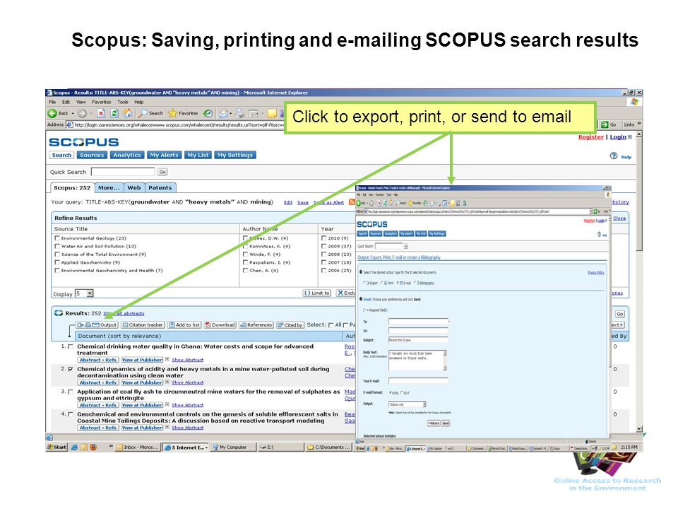 Scopus: Saving, printing and e-mailing SCOPUS search results Click to export, print, or send to email