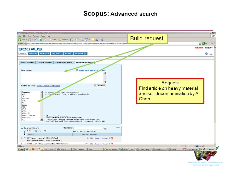 Scopus: Advanced search Build request Request Find article on heavy material and soil decontamination by A.