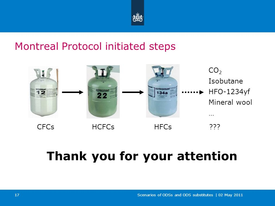 Scenarios of ODSs and ODS substitutes | 02 May 2011 17 Thank you for your attention Montreal Protocol initiated steps CO 2 Isobutane HFO-1234yf Mineral wool … CFCsHCFCs HFCs