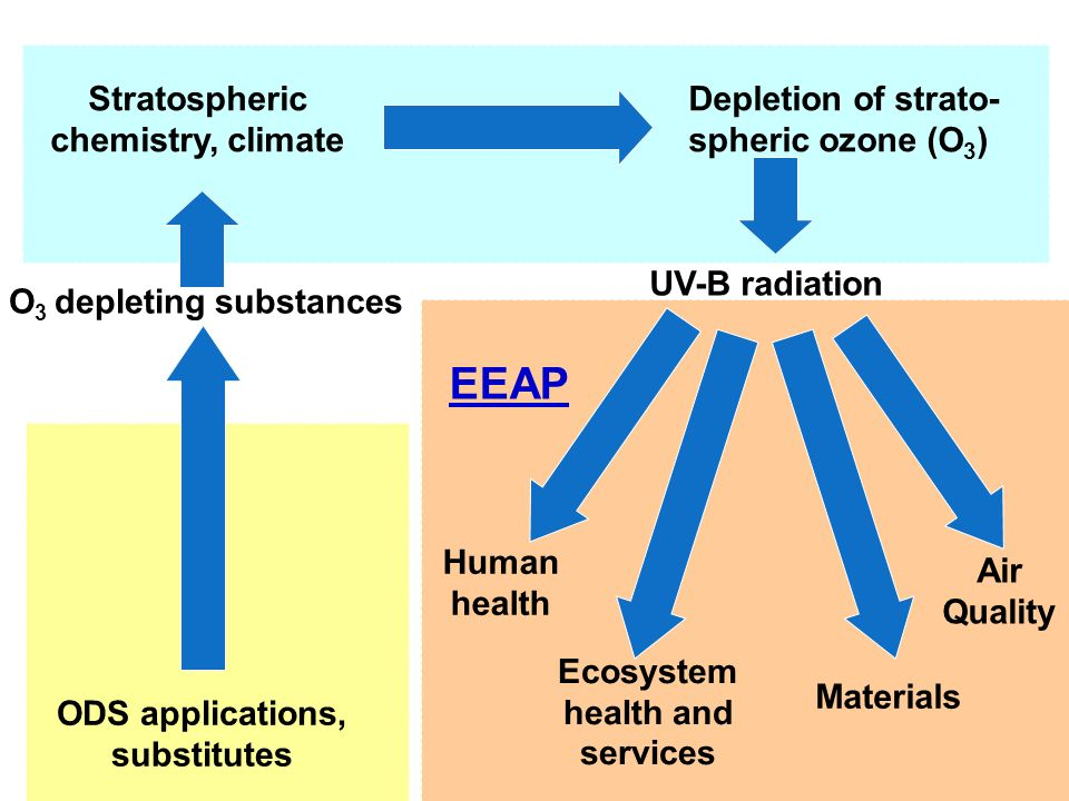 Depletion of strato- spheric ozone (O 3 ) Stratospheric chemistry, climate UV-B radiation ODS applications, substitutes O 3 depleting substances Human