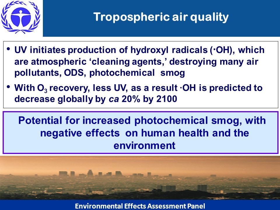 Tropospheric air quality UV initiates production of hydroxyl radicals ( OH), which are atmospheric cleaning agents, destroying many air pollutants, OD