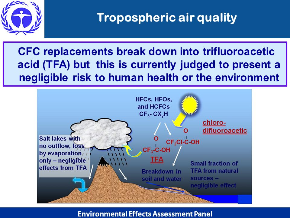 Tropospheric air quality Environmental Effects Assessment Panel CFC replacements break down into trifluoroacetic acid (TFA) but this is currently judg