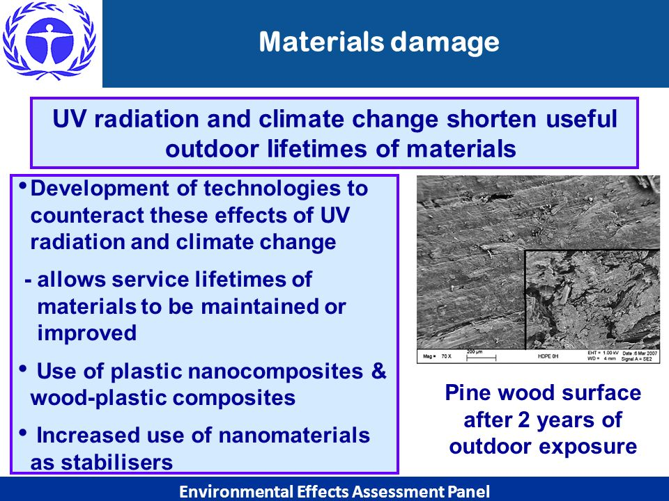 Development of technologies to counteract these effects of UV radiation and climate change - allows service lifetimes of materials to be maintained or