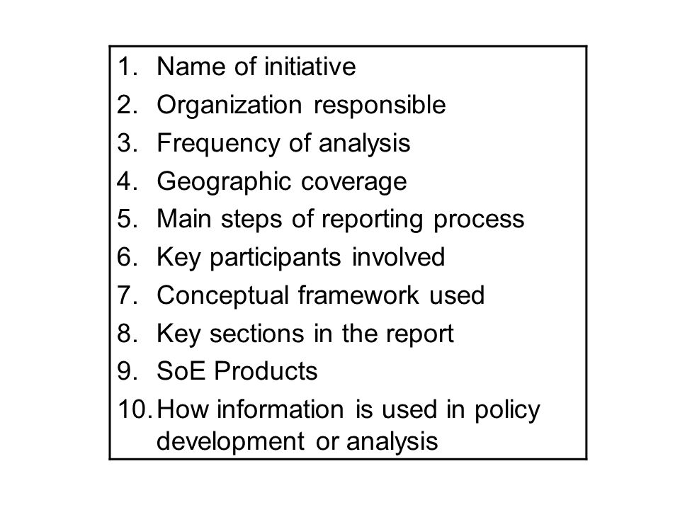 1.Name of initiative 2.Organization responsible 3.Frequency of analysis 4.Geographic coverage 5.Main steps of reporting process 6.Key participants inv