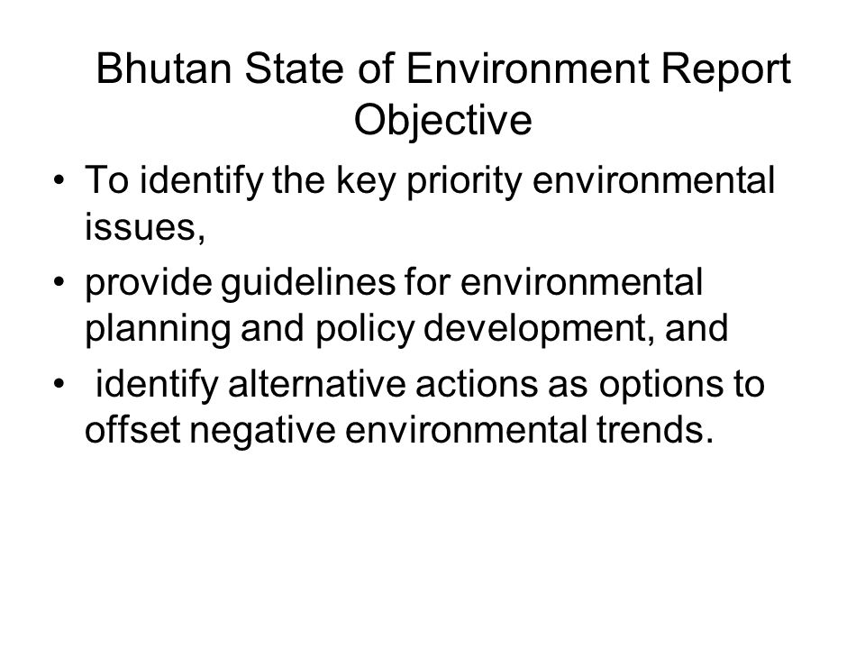 To identify the key priority environmental issues, provide guidelines for environmental planning and policy development, and identify alternative acti
