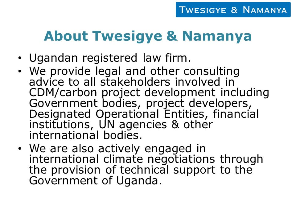 About Twesigye & Namanya Ugandan registered law firm.