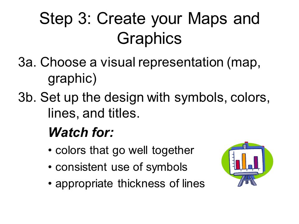 Step 3: Create your Maps and Graphics 3a. Choose a visual representation (map, graphic) 3b.
