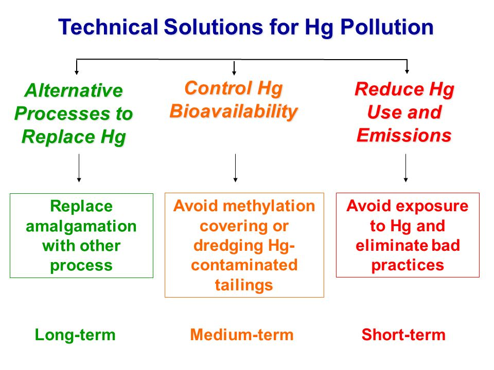 Control Hg Bioavailability Technical Solutions for Hg Pollution Alternative Processes to Replace Hg Reduce Hg Use and Emissions Long-termShort-termMed