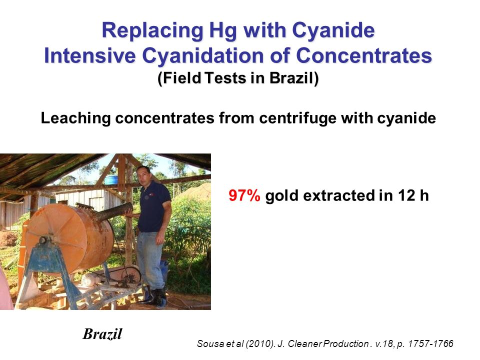 97% gold extracted in 12 h Leaching concentrates from centrifuge with cyanide Replacing Hg with Cyanide Intensive Cyanidation of Concentrates (Field T