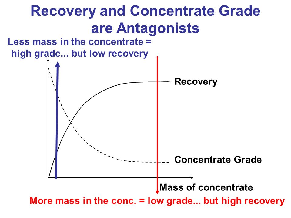 Concentrate Grade Recovery Mass of concentrate Recovery and Concentrate Grade are Antagonists More mass in the conc. = low grade... but high recovery