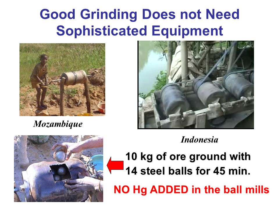 Good Grinding Does not Need Sophisticated Equipment Mozambique Indonesia NO Hg ADDED in the ball mills 10 kg of ore ground with 14 steel balls for 45