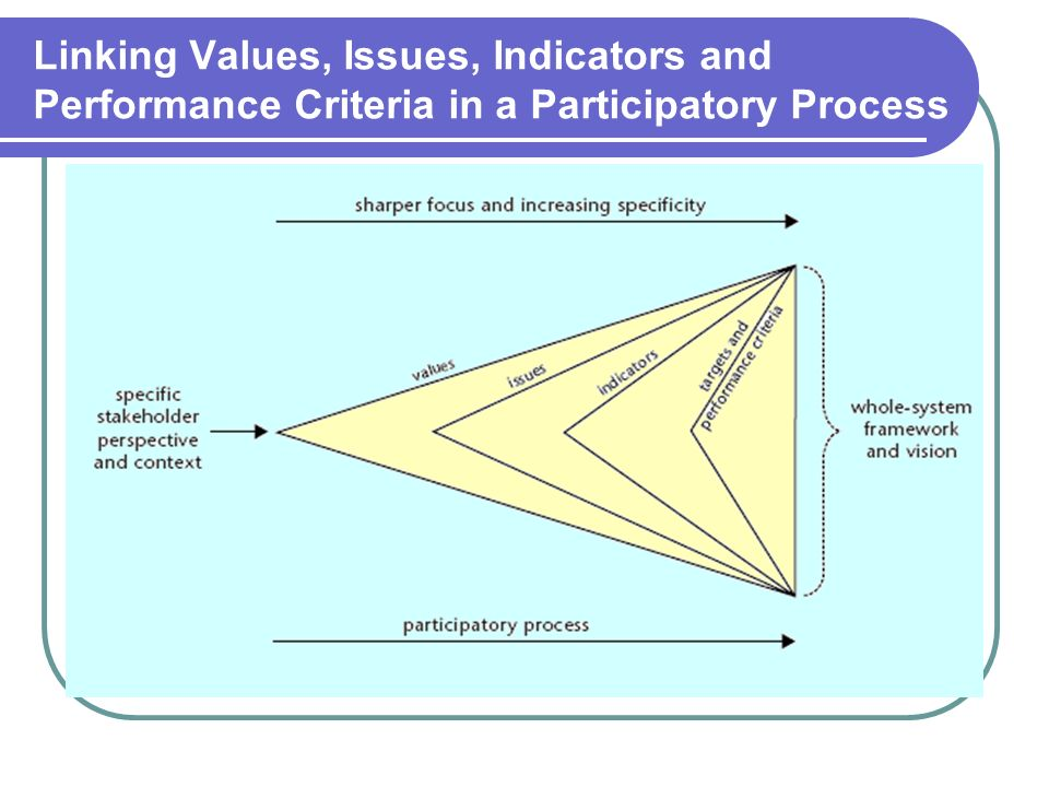 Linking Values, Issues, Indicators and Performance Criteria in a Participatory Process