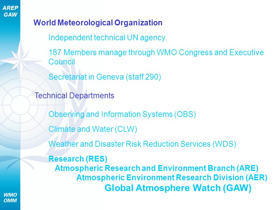 AREP GAW World Meteorological Organization Independent technical UN agency 187 Members manage through WMO Congress and Executive Council Secretariat i